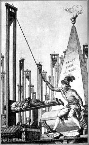 To say Robespierre is associated with the guillotine may be a bit of an understatement. This cartoon shows Robespierre executing the executioner after guillotining everyone else in France.