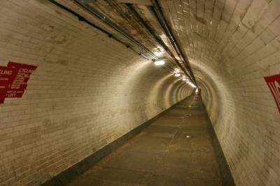 Inside the Greenwich foot tunnel.