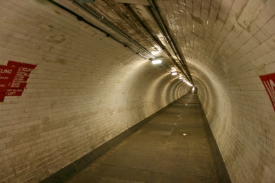Inside the Greenwich foot tunnel.