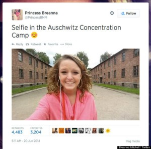 (RNS1-JULY 24) On June 20, Breanna Mitchell posted a selfie on the grounds of the Auschwitz Concentration Camp. For use with RNS-AUSCHWITZ-SELFIE transmitted July 24, 2014. Photo courtesy Breanna Mitchell